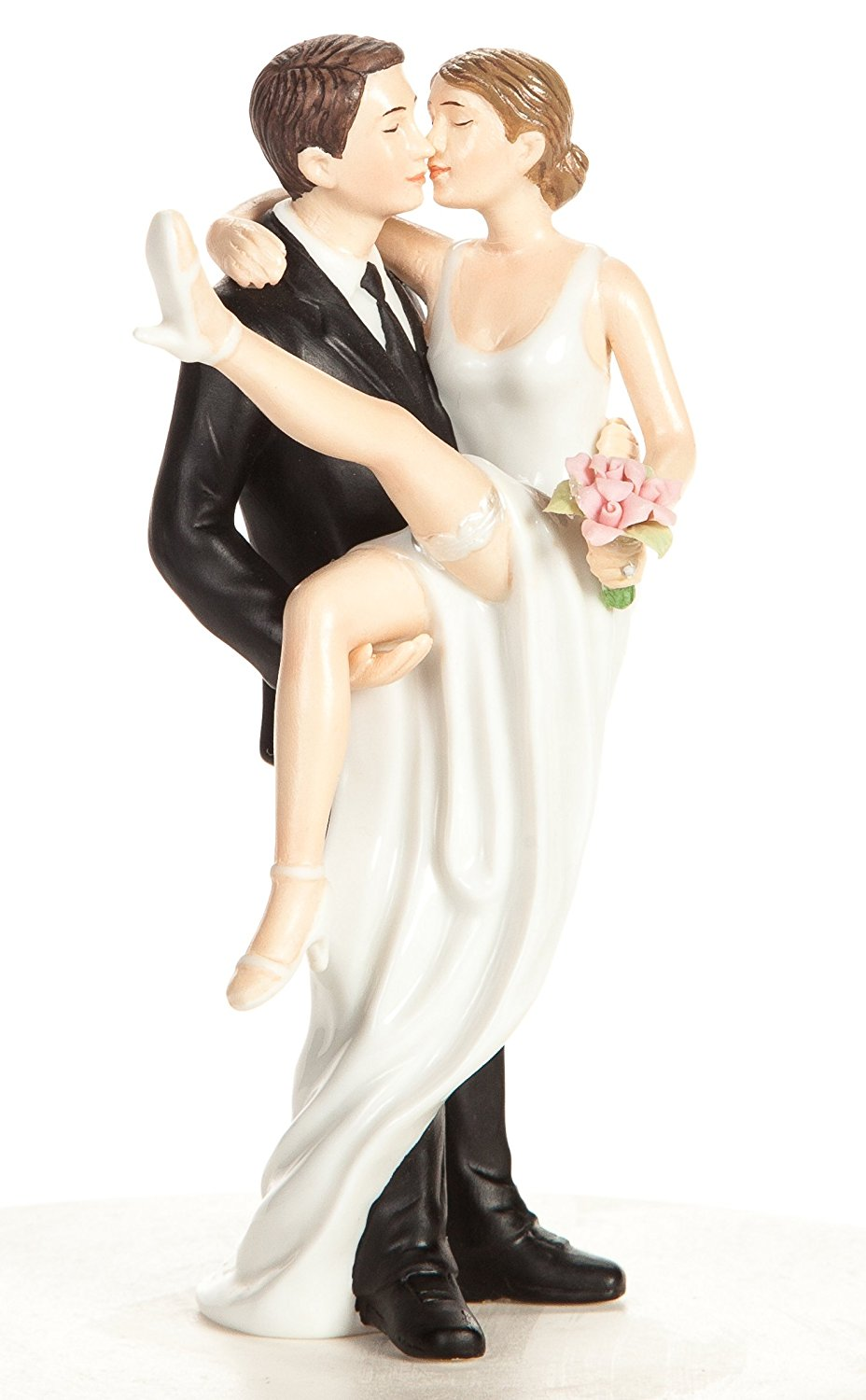 Wedding Collectibles Personalized Over the Threshold Wedding Bride and Groom Cake Topper Figurine: Bride Hair: RED - Groom Hair: RED