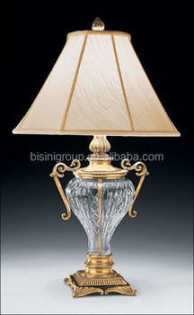 Antique Luxury Crystal Table Lamp With Bronze Decor And Cream White