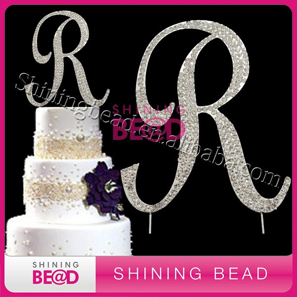 silver plating diamante rhinestone cake topperbirthday cake topper letters r 7cm12cm or