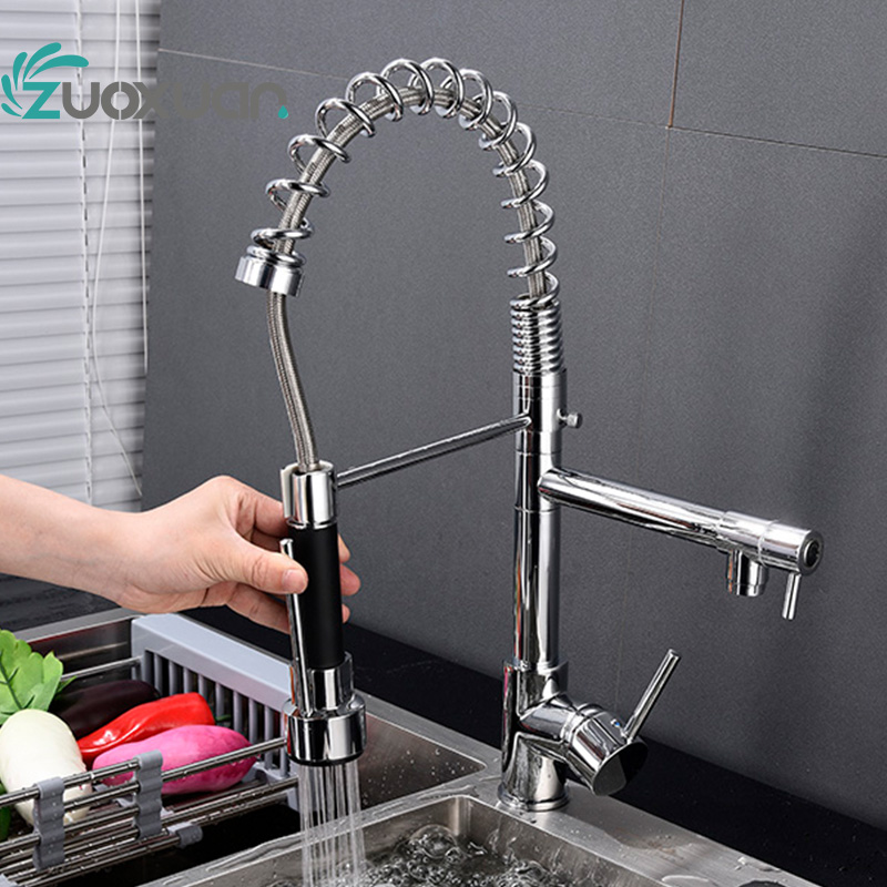 Bathroom Brass Single Handle Pull Out Hot Cold Water Heater Tap Faucet