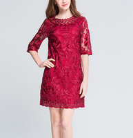 B40012A Newest design big size women red bodycon lace dress