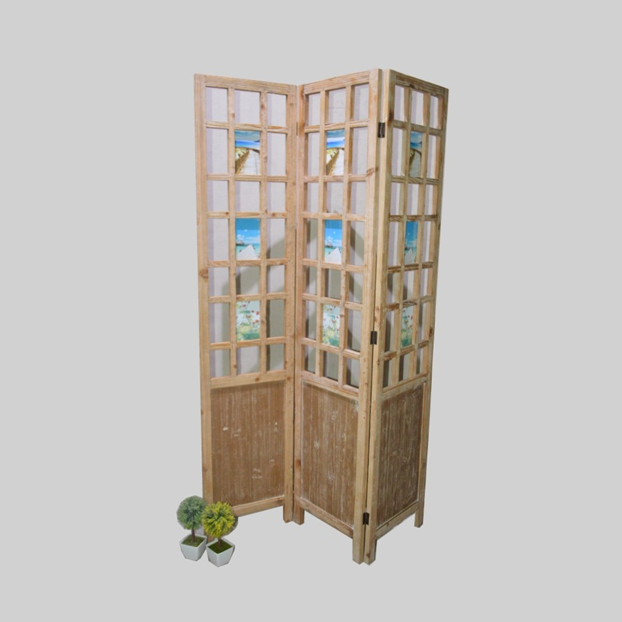 Chinese Wooden Frame Folding Screen Room Divider 3 Panels Product On