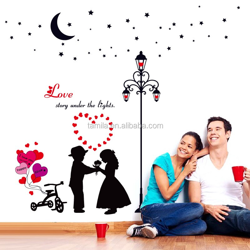 DIY Sticker Sweet LOVE Pattern 3Wall Stickers Romantic Valentine Wedding Home Decorations