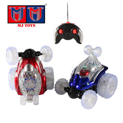rechargeable rotate 360 degrees dump light up toy car for children
