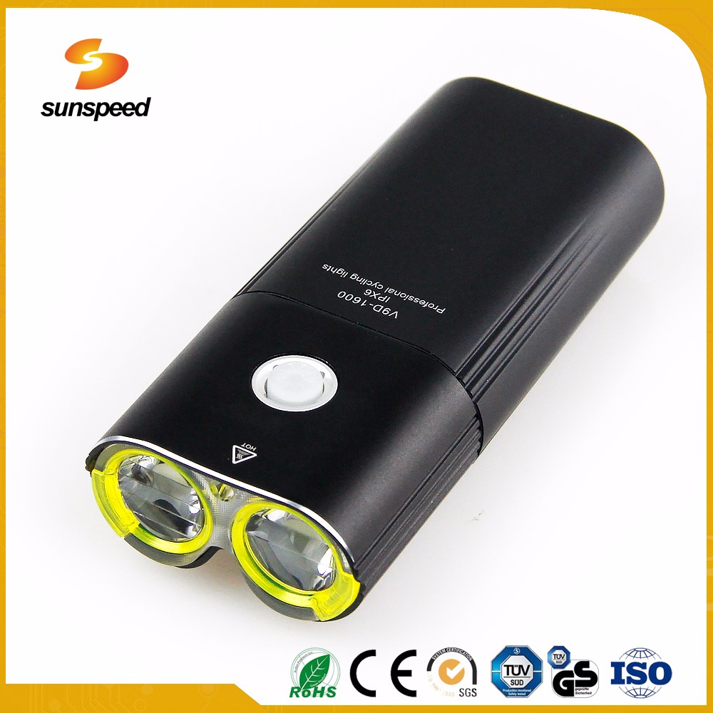usb rechargeable bicycle LED lamp power beam with 5200mAh Battery for riding