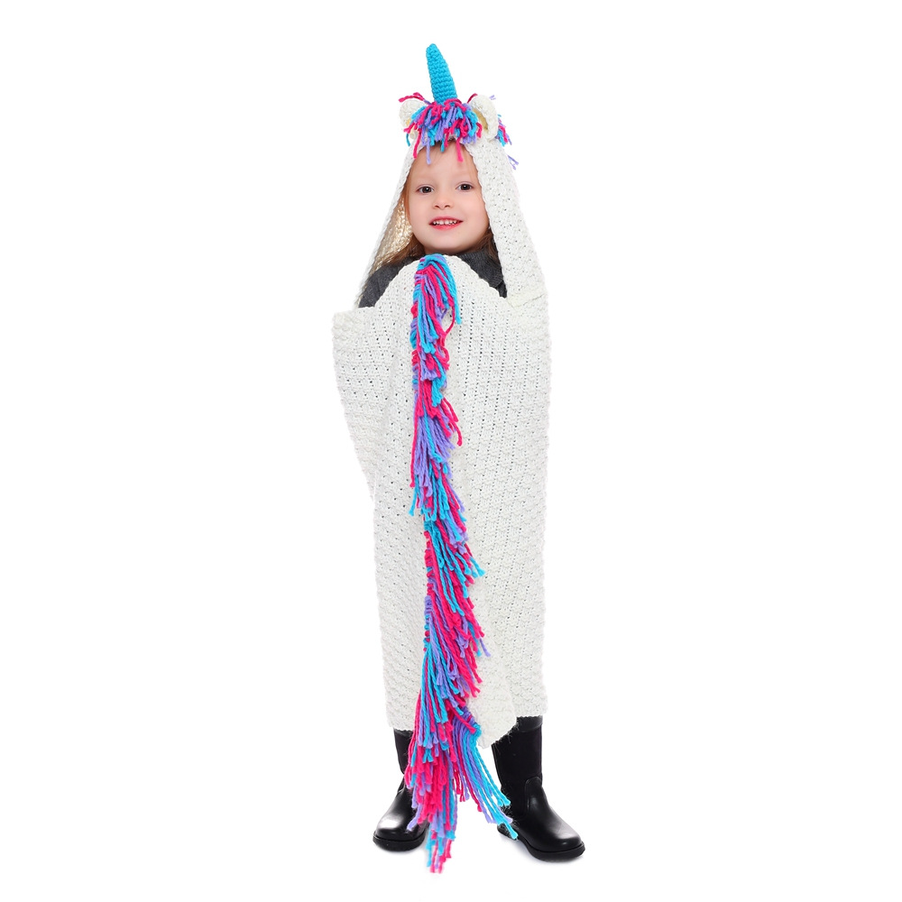 New Style 3-10 Age With Scarf Shawl Tassel Hats Acrylic Winter Kids Crochet Knit Unicorn Hood Hat with Gloves