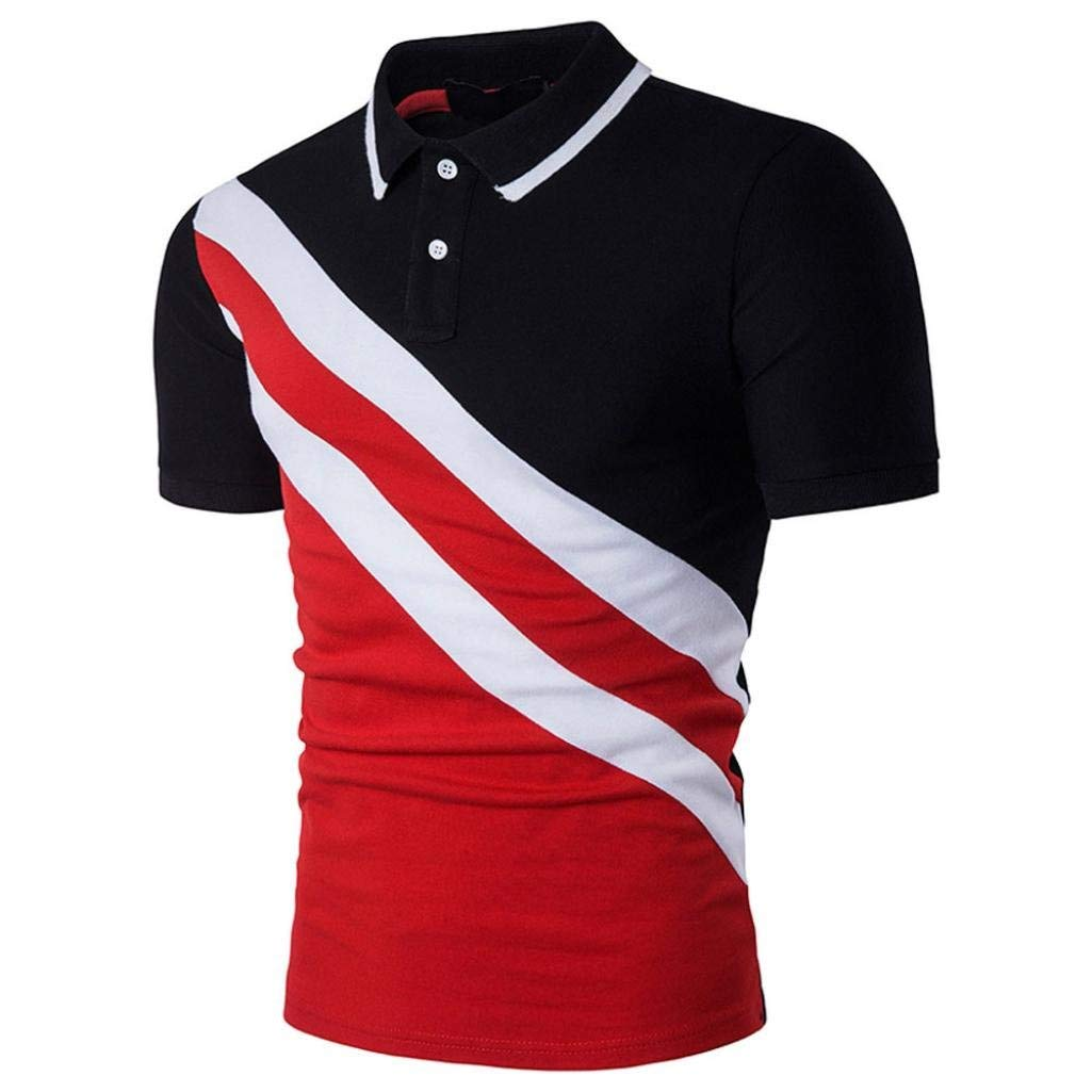Coper Polo Shirt,Men Slim Patchwork Short Sleeve Polo T-Shirt Personality Blouse