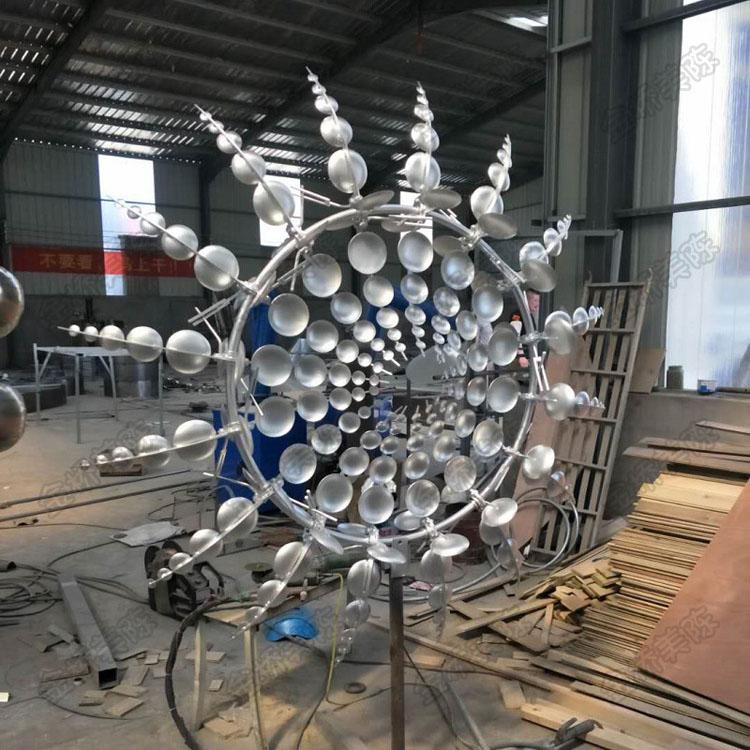 Modern garden art stainless steel kinetic abstract flame sculpture