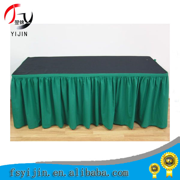 Good quality cheap price wholesale china factory customize table skirts with Velcor