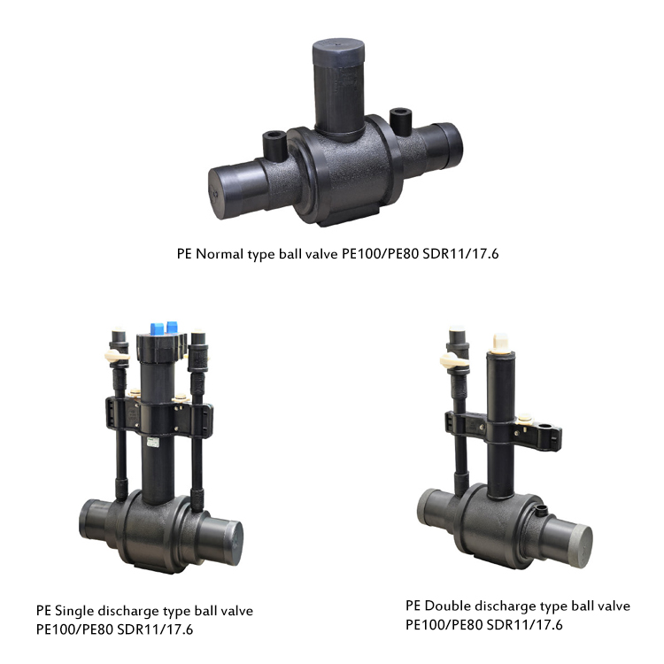 Sdr11 Sdr17.6 Pe100 Pe80 Water Pipe And  Fittings Hdpe Pe Pipe Double Discharge Type Ball Valve