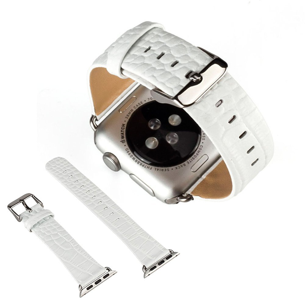for Apple Watch Leather Band 42mm , EXMART Genuine Leather iWatch Band Wrist Strap Replacement for Apple Watch 42mm (White)