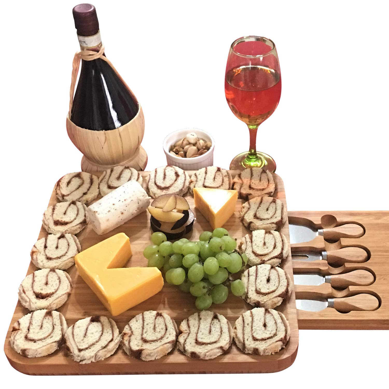Unique gifts for Mom, Mothers, Women, Men Housewarming, Wedding, Birthday, Hostess, Bamboo Cheese Board w/Cutlery Set, Wood Charcuterie Platter & Meat Server, 4 Stainless Steel Knife, Slide-Out Drawer
