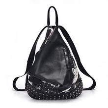 2018 fashionable black zipper pocket magnetic clasp rivet printed women pu leather bag