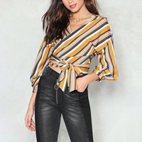 Guangzhou Factory Brand YILEYA Design Casual Colorful Long Sleeve Women Plus Size Ladies Wrap Top
