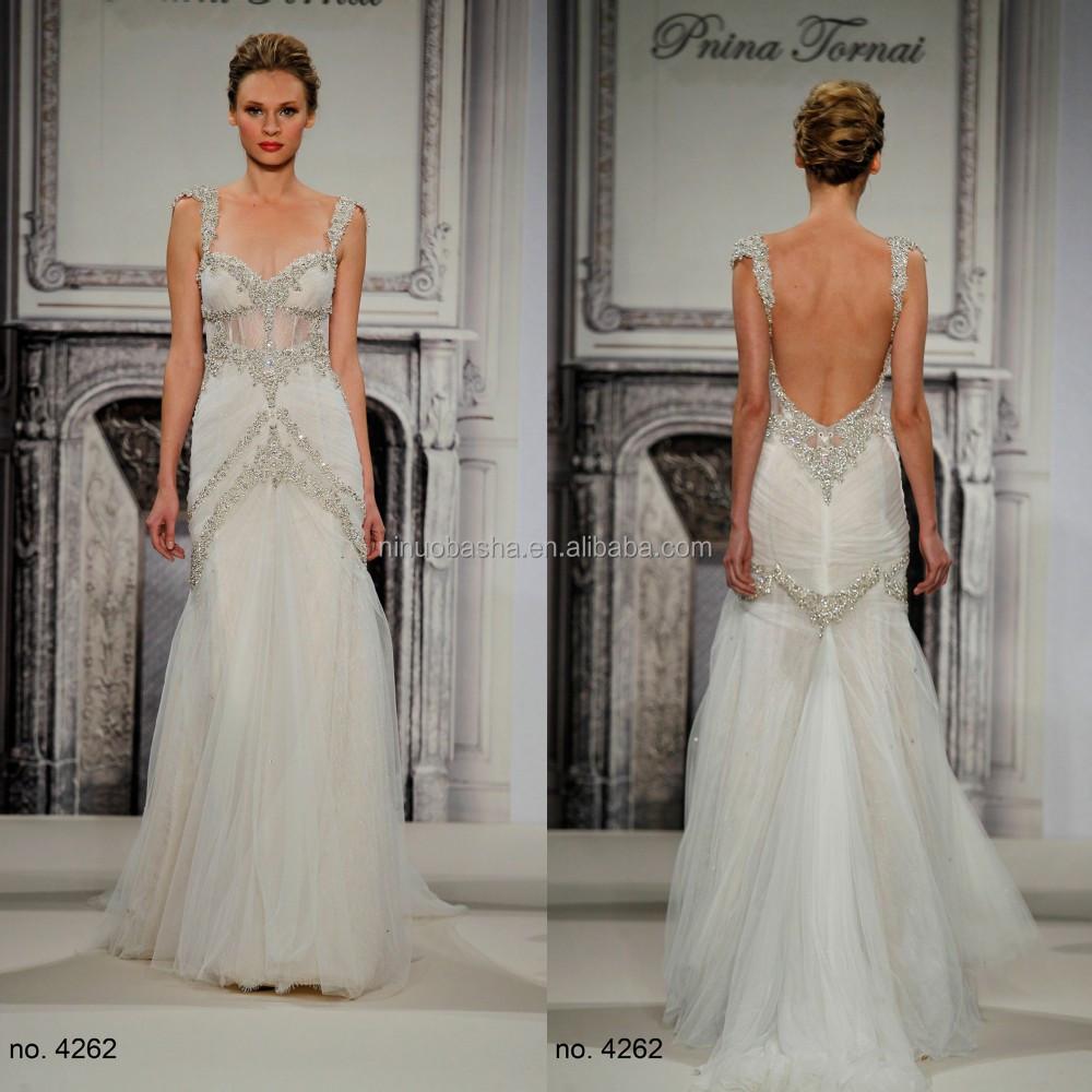 2015 famoso diseñador tulle falda vestido de novia con correas ...