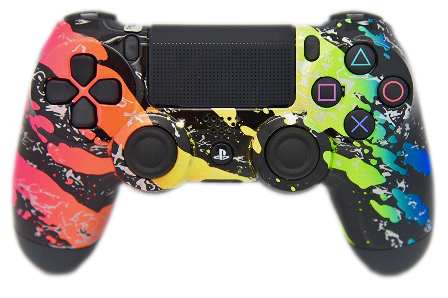 Rainbow Splatter PS4 Custom Controller, HAND PAINTED & HYDRO DIPPED, UN-MODDED