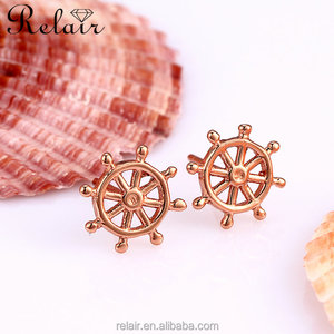 Ear rings for women and men wholesale 925 silver gold rose wheel stud earring