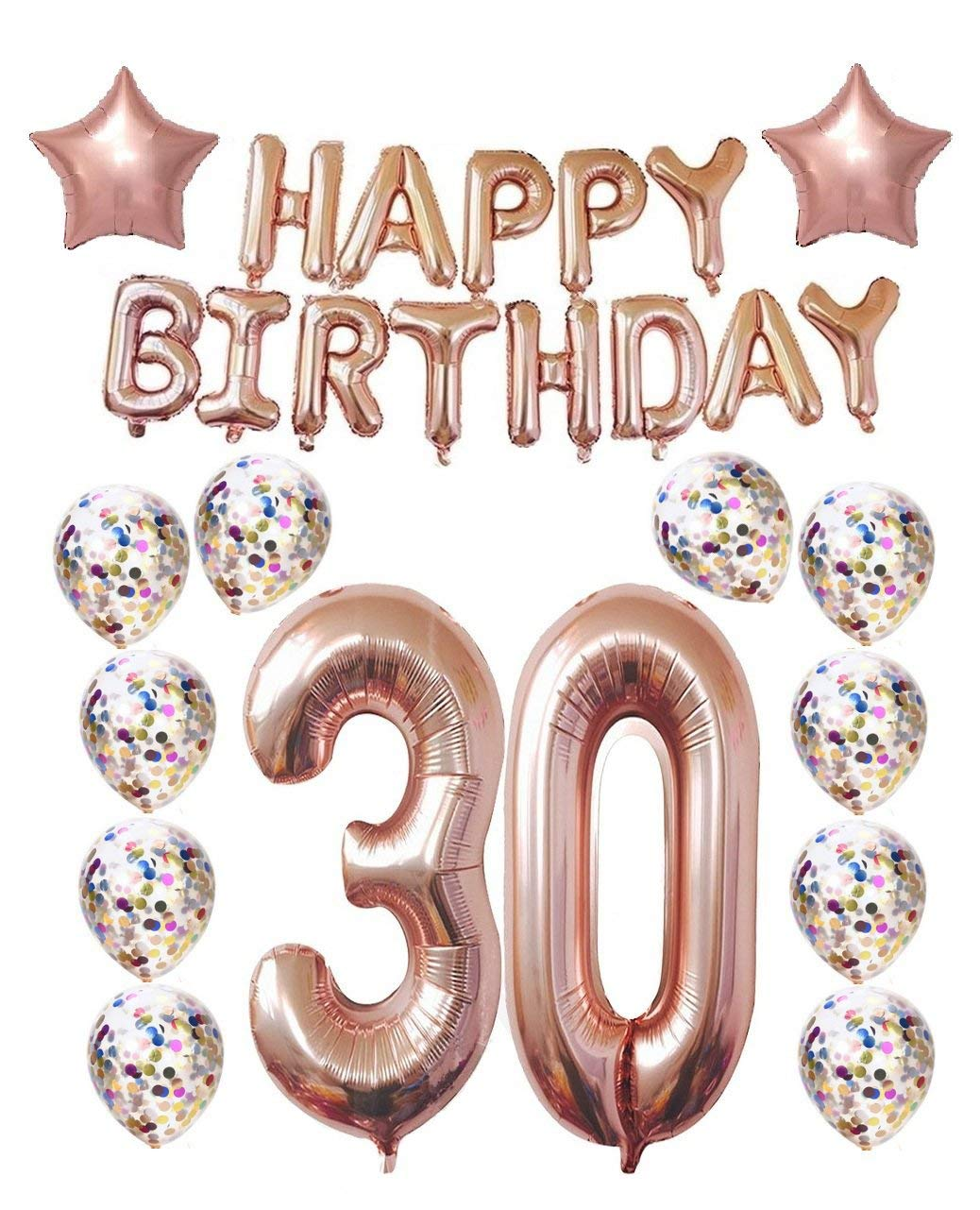 Get Quotations 30th Birthday Decorations Party Supplies30th Balloons Rose GoldRose Gold Hang Happy