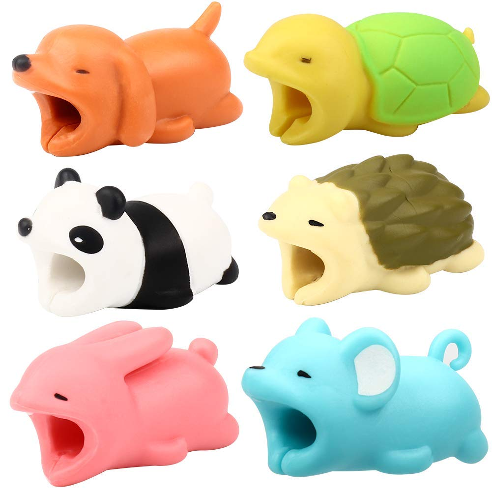 Lingpeng 6PCS Cute Animal Cable Various Animal Cable Bite Cable Biters Accessory Creative Gifts
