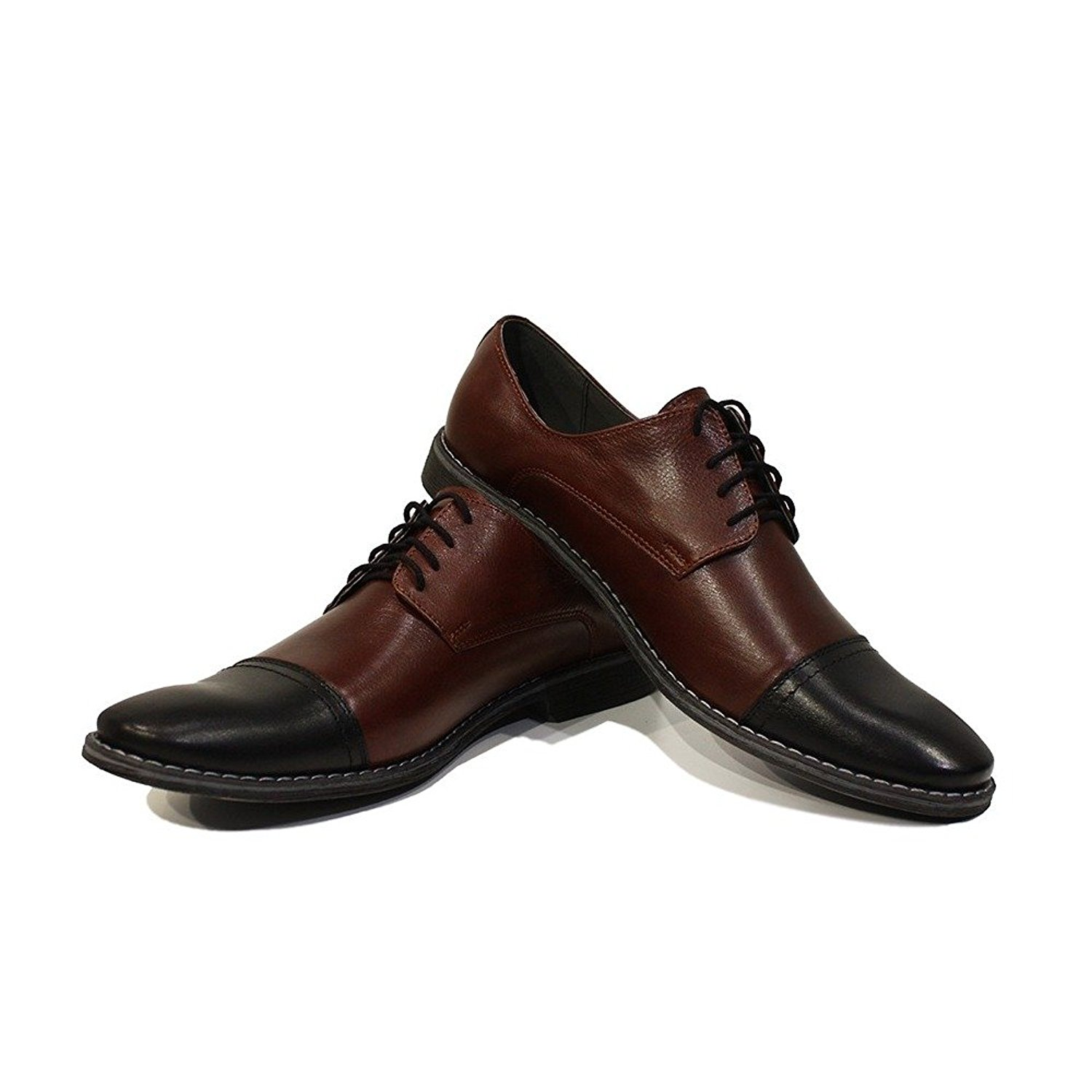 Modello Giobbe - Handmade Italian Mens Brown Oxfords Dress Shoes - Cowhide Smooth Leather - Lace-up
