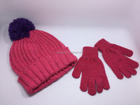 Pink fringe children hat & glove sets with pompons