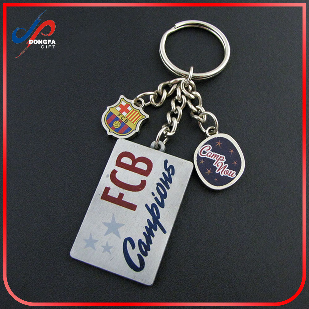 Factory direct sale metal keychain zinc alloy metal type FCB emblem Barcelona souvenir keychain