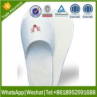 Custom washable disposable hotel slipper cotton spandex french terry with embroidery logo
