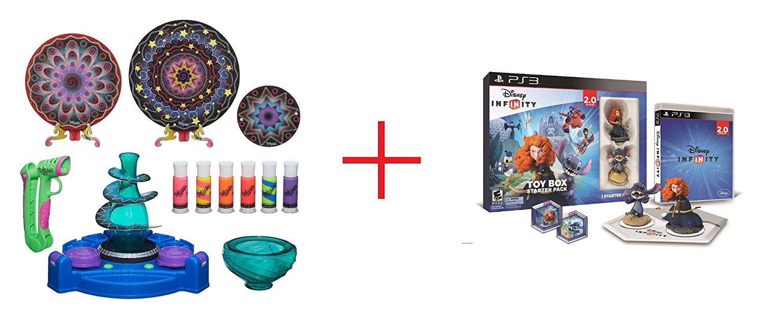 DohVinci Spotlight Spin Studio and Disney Infinity (2.0 Edition) Toy Box Starter Pack featuring Disney Originals for Sony PS3 - Bundle