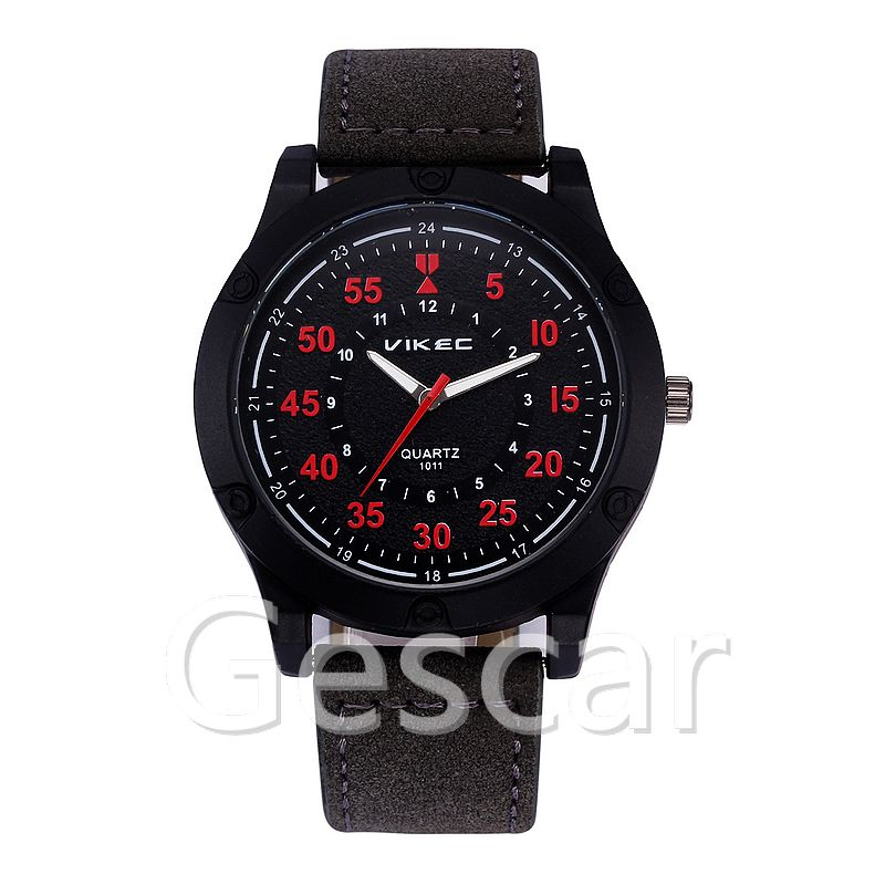 VK-1011 big round dial high quality leather belt wrap quartz casual sport watch for man women