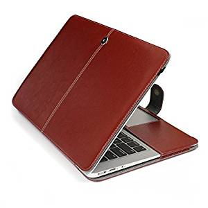 "HQF® 13-inch Protective Book Case, Flip Case PU Leather Case Cover for Apple MacBook Air 13.3"" A1369/A1466(Brown)"