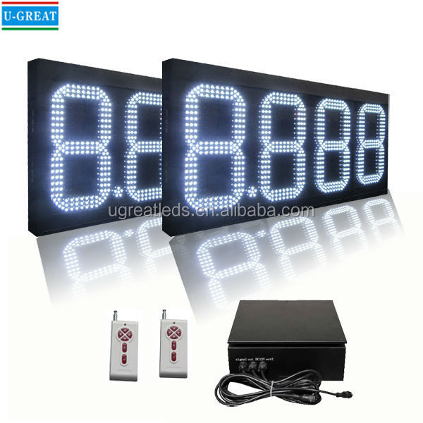 18 Inch White 4 Digits LED 7 Segment Display for Gas Station