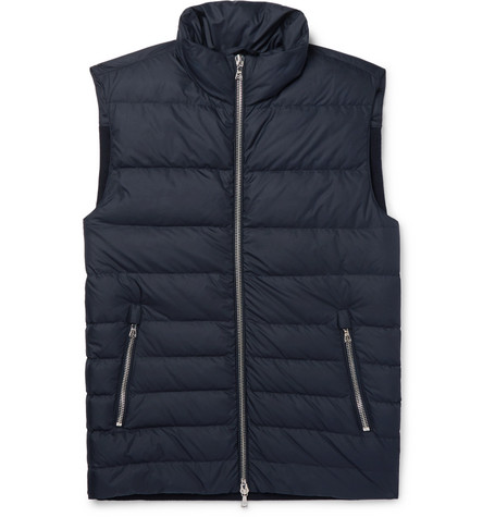 Slim-Fit Shell Et Nervuré Laine-Mélange Downn Mens Gilet