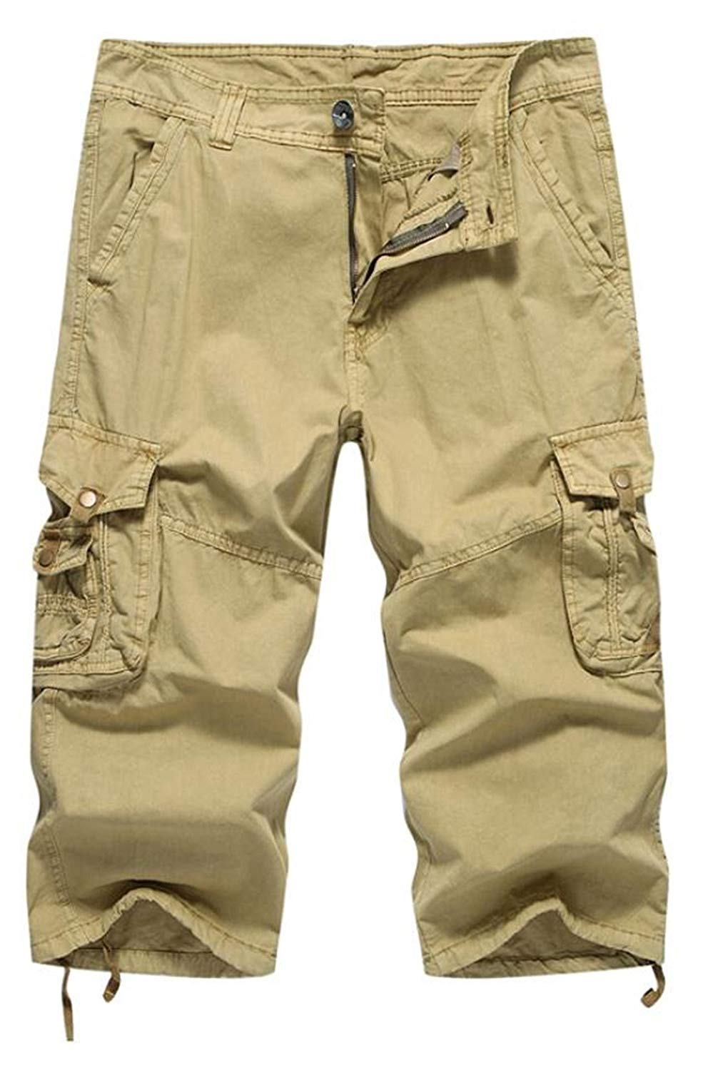 Nanquan Men Multi Pocket Loose Fit Casual Cotton Work Pants Cargo Pants