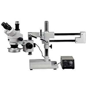 Large Pillar-Style Table Stand AmScope ZM-1TZ3-80MW Professional Trinocular Stereo Zoom Microscope 2x-90x Magnification EW10x Eyepieces 0.67X-4.5X Zoom Objective 80-Bulb LED Ring Light with Rheostat 110V-240V Includes 0.3x and 2.0x Barlow Lenses