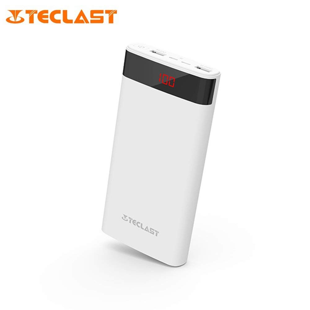 Teclast T200CF 20000mAh Power Bank Dual USB Interfaces Portable External Battery Charger High-definition Digital Large Screen Display 2.1A High-speed Output Power Supply Battery (Ivory White)