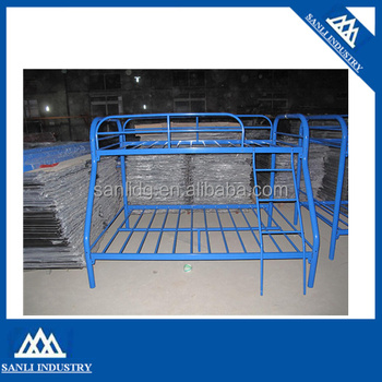 Blue Metal Triple Children Sleeper Bunk Bed Frame Buy Bunk Bed No Mattress Double Bed Base Single On Top Metal Bunk Beds Blue Painting Bunk Bed