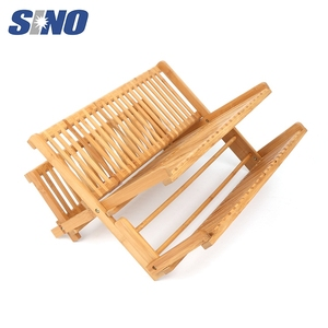 New Design 2 Tier Layer Bamboo Dish Drying Rack With Tray, Dish Rack Holder
