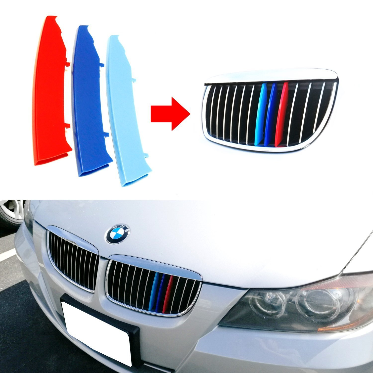 lanyun BMW M Colors(red blue light blue) Grille Insert Trims Decorate For 2003-2008 E90/E91 Pre-LCI 3 Series w/12-Beam Grill