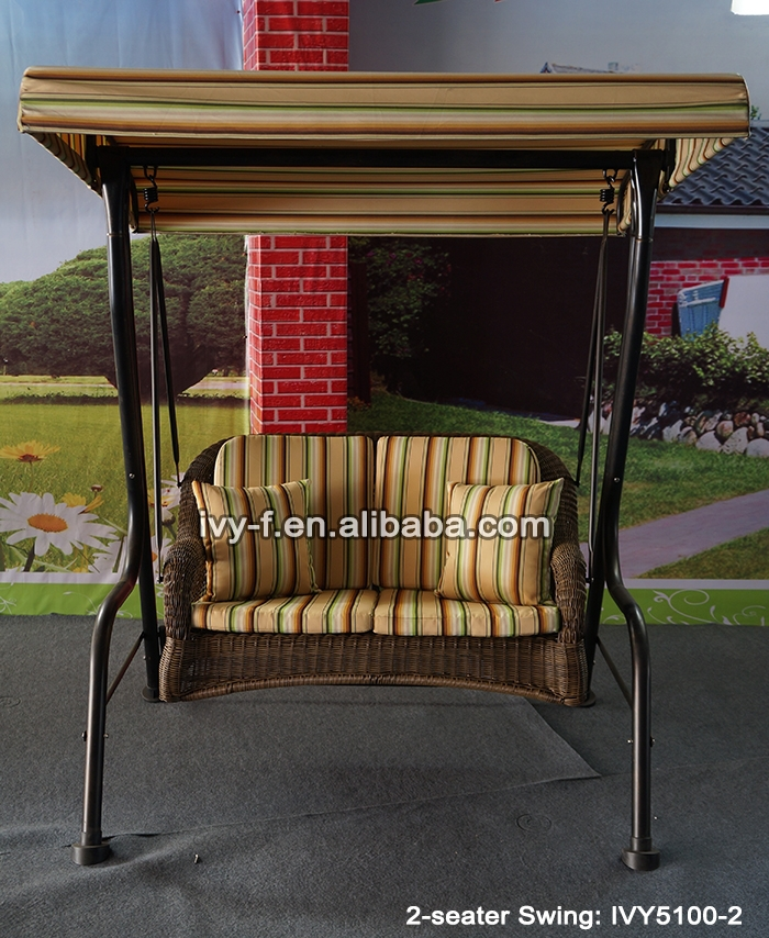 patio swing bench/metal canopy swing 2-seater/double hanging swing chair