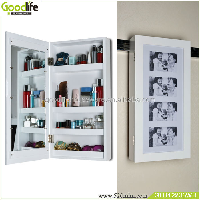 Wooden Photo Frame Cabinet With Mirror And Makeup Storage Cabinet