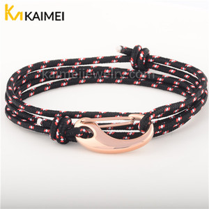 New Arrival Nautical Style Adjustable Knot Wrap Handmade Fish Hook Rope Bracelet