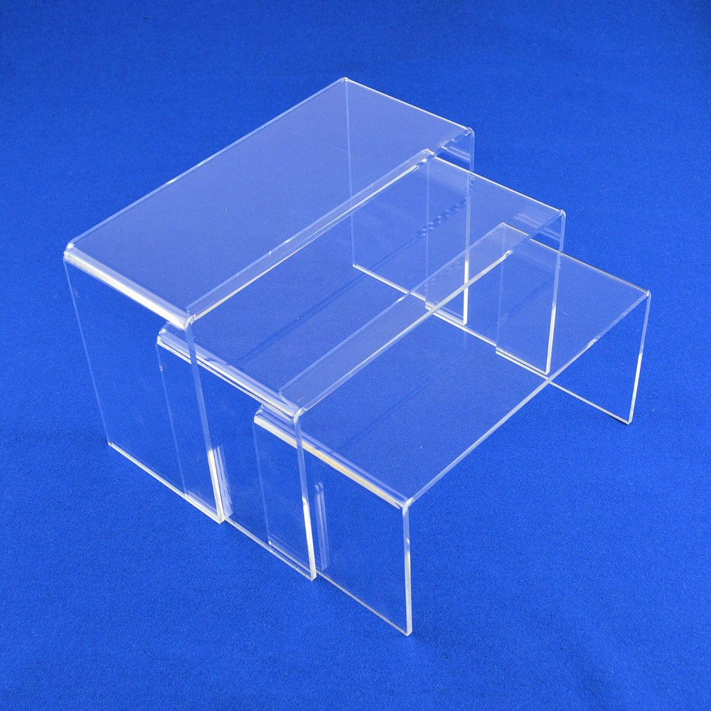 2 x set of 3 clear acrylic  long risers shoes//jewelry etc