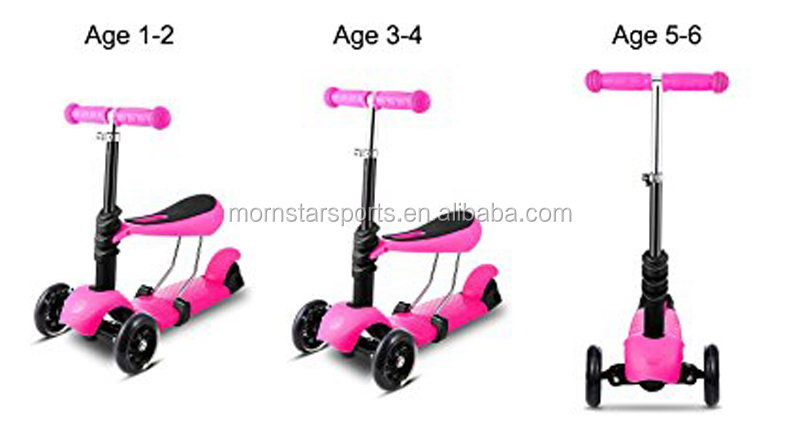 Three Wheels Boys Girls Foot Scooter 3 In 1 Baby Walker Children Kick Scooter With Music