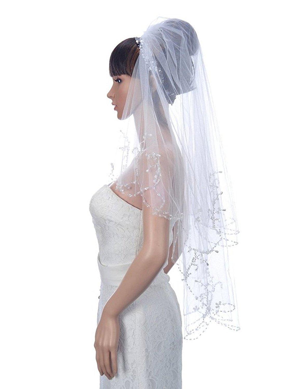 JiaFang 2T Wedding Veil Sequin Pearl Edge Luxury Crystals Beaded Bridal Veils H03