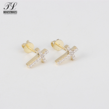 Customized Fancy Hiphop Small Cross Earrings For Guys Nice