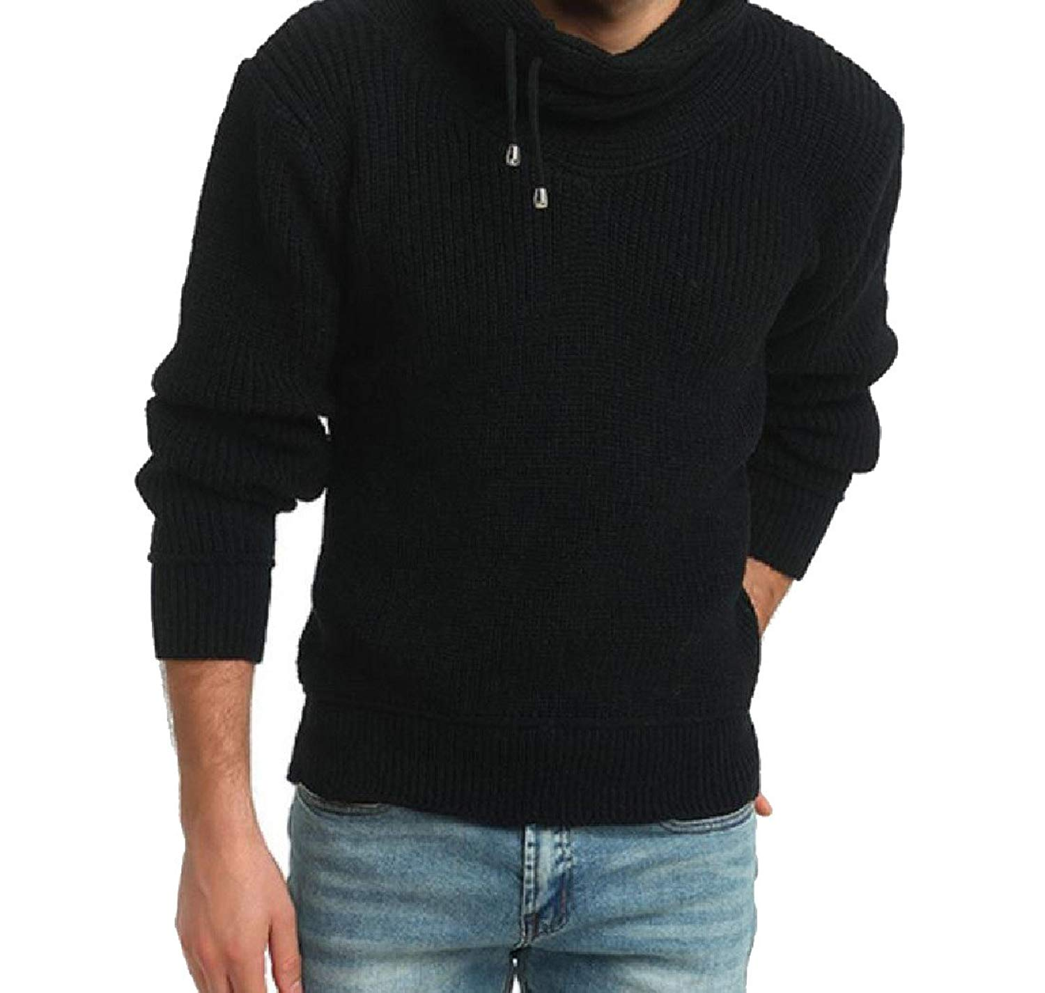 82fe822a256e8 Get Quotations · SportsX Mens Long-Sleeved Wash Hi-Neck Thicken Knit  Sweater Coat