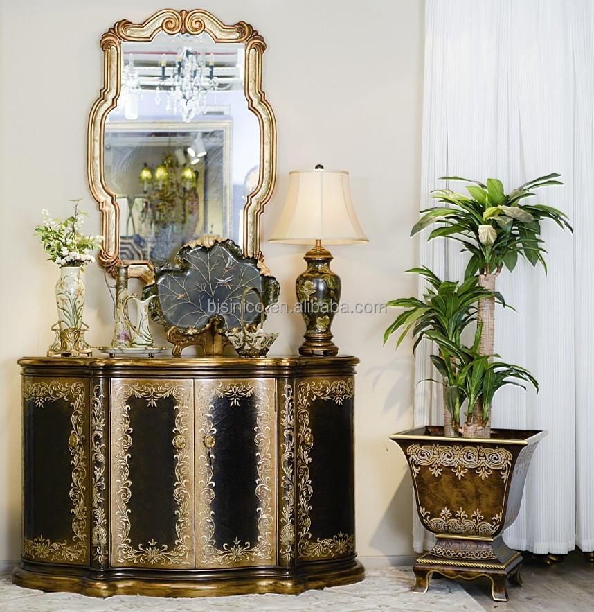 French Rococo Style Vintage Hand Painted Console Table, Luxury Wooden  Carved Furniture Set, Entrance