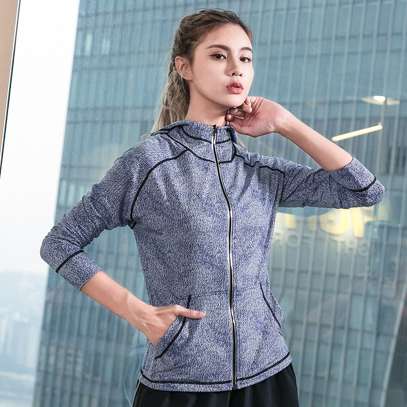 Winter New Windproof Hooded Zipper Women Sports Jacket,Fitness Quick Drying Training Exercise Yoga Running Coat 2