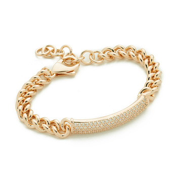 B36 033 Women New Design Crystal Rhinestone Simple Id Bracelet Gold Plated