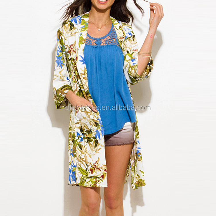 8cc9cdfaaa Wholesale Fashion Summer Cardigan Green Multicolor Tropical Print Pocketed  Boho Kimono Beach Cover Up Cardigan